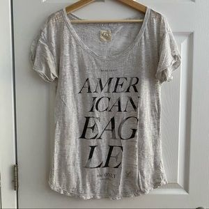 AMERICAN EAGLE Sheer White/Grey Tee Size Large